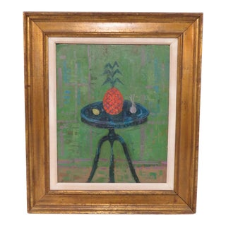Vintage Modernist Still Life Painting, Signed and Dated 1964 For Sale