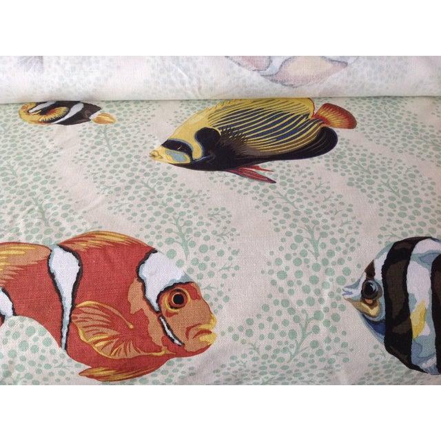 "Linen Grey Watkins ""Barbuda"" Fish Linen Textile - 4 1/3 Yds. For Sale - Image 7 of 12"