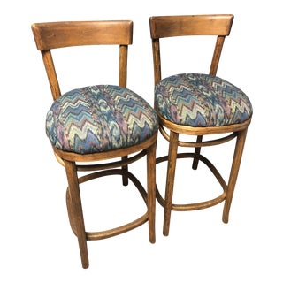 Vintage Mid-Century Bentwood Bar Stools - a Pair For Sale