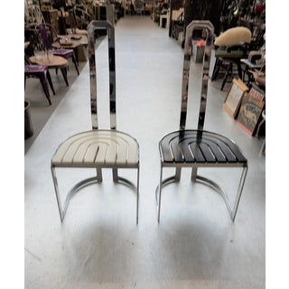 1980s Vintage Chrome Black and White Chairs - A Pair Preview