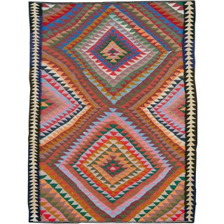 "Vintage Persian Flatweave Kilim Rug – Size: 5' 2"" X 6' 9"" For Sale"