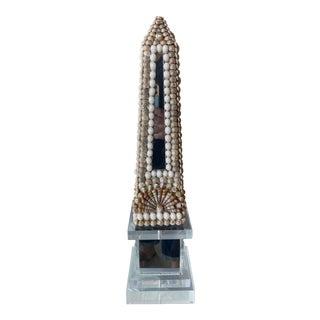 Vintage Lucite Shell Seashell Mirror Obelisk For Sale