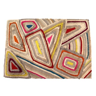 Late 20th Century Vintage Indian Eternity Bold Area Rug - 4′4″ × 6′3″ For Sale