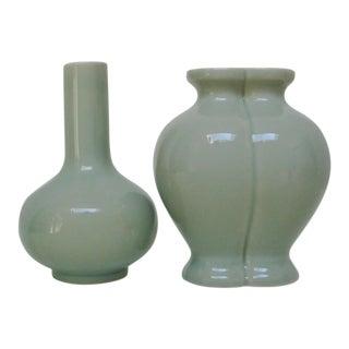 Celadon Porcelain Vases - a Pair