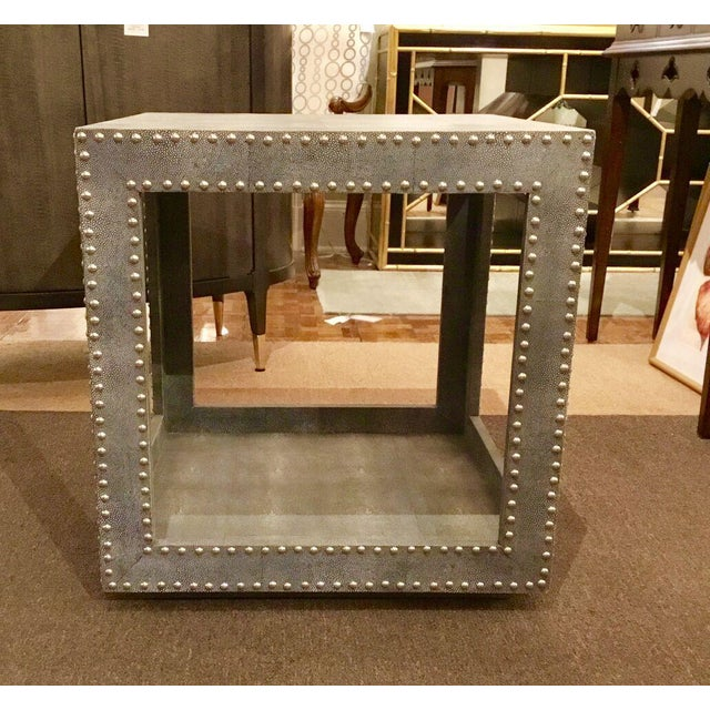 Modern Regina Andrews Feaux Python Studded Accent Cube Table For Sale - Image 3 of 9