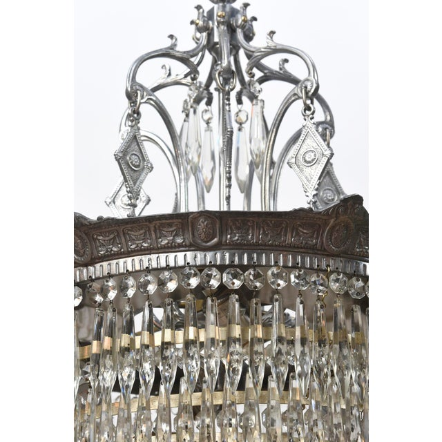 Tiered Crystal Four Light Fixture For Sale - Image 9 of 11