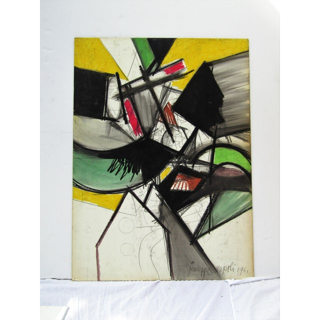 Abstract 1961 Vintage Giuseppe Napoli Abstract Modern Painting For Sale - Image 3 of 6