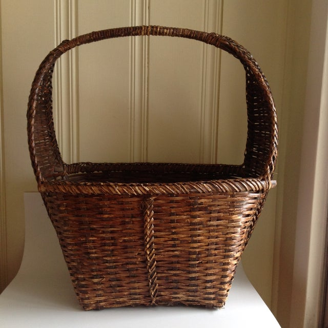 Brown Rustic Woven Wicker Basket For Sale - Image 8 of 9
