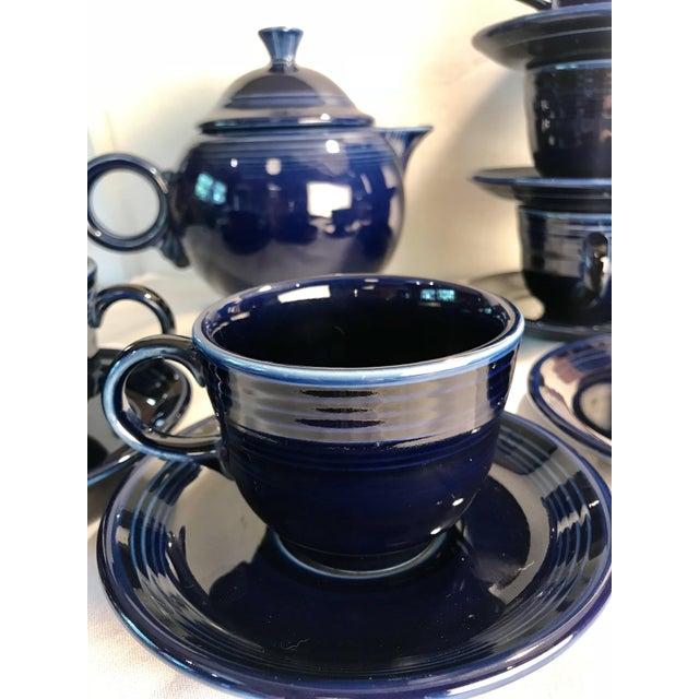 Art Deco 1992 Fiesta Navy Tea Set - 14 Pieces For Sale - Image 3 of 11