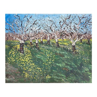 'Walnut Grove With Mustard Flowers' by Patricia Moorhead, 1971 For Sale