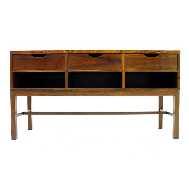 Nice Severin Hansen cabinet, console with three drawers and ceramic top, Haslev, Denmark, circa 1960s. Very good condition.