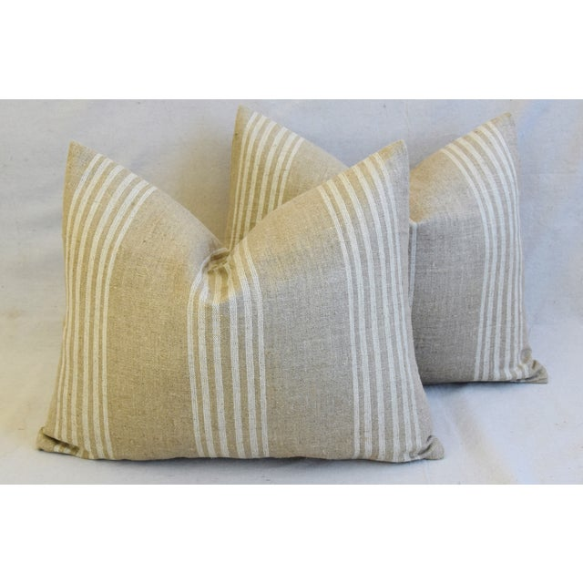 """Tan & White French Cotton & Linen Ticking Feather/Down Pillows 21"""" X 16"""" - Pair For Sale - Image 11 of 12"""