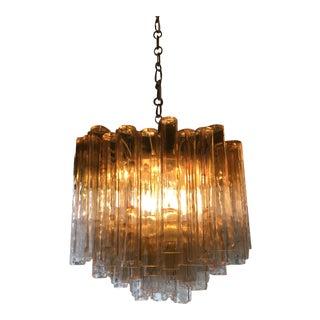 Monumental Amber Murano Tubular Chandelier For Sale