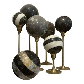 Solid Marble Balls With Brass Candlesticks - 13 Pieces For Sale