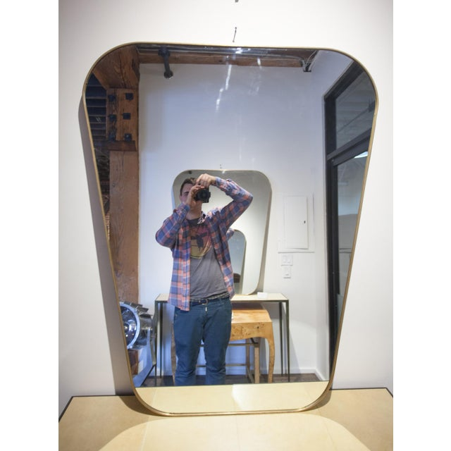 1960s Pair of Rounded Trapezoid Brass Mirrors For Sale - Image 5 of 5