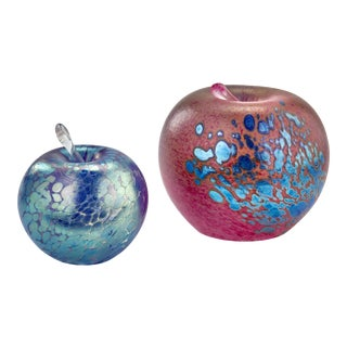 Murano Art Glass Apple Paper Weights - a Pair For Sale