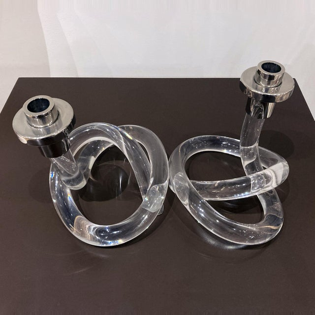 Mid-Century Modern Dorothy Thorpe Lucite Vintage Candlesticks - a Pair For Sale - Image 3 of 10