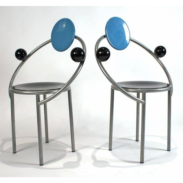Silver 1980s 'First Chairs' by Memphis Milano Designer Michele De Lucchi - A Pair For Sale - Image 8 of 9