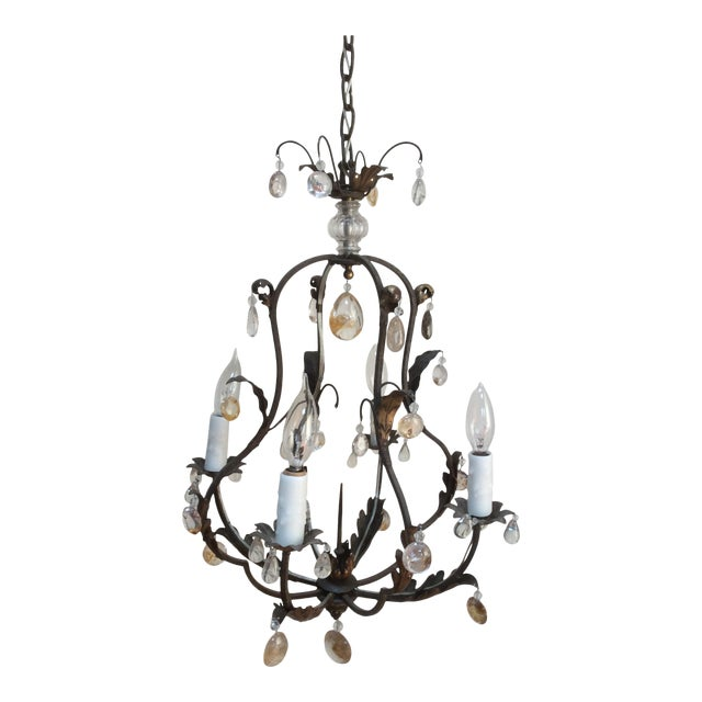 Polished Steel & Quartz Prism Chandelier For Sale