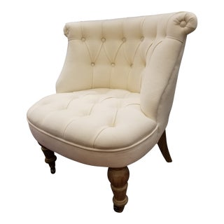 Ivory Linen Tufted Slipper Chair For Sale
