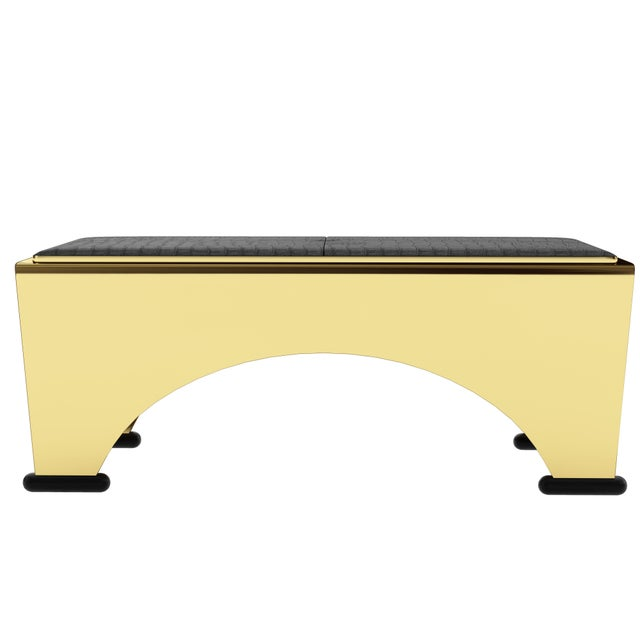 Art Deco Solid Bronze Bench by Artist Troy Smith - Limited Edition - Contemporary Design For Sale - Image 3 of 6