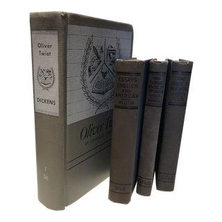 Antique Pale Blue Books - Set of 4 For Sale