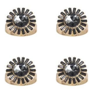 Giant Gem Napkin Rings, Black Diamond, Set of Four For Sale