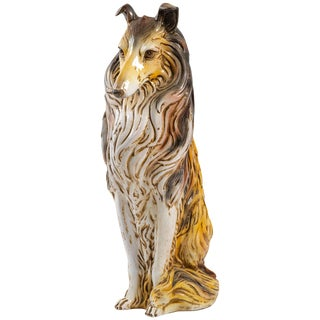 Italian Terracotta Collie Statue For Sale