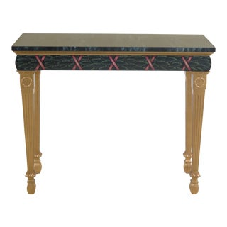 Traditional Karges Paint Decorated Faux Marble Top Console Table For Sale
