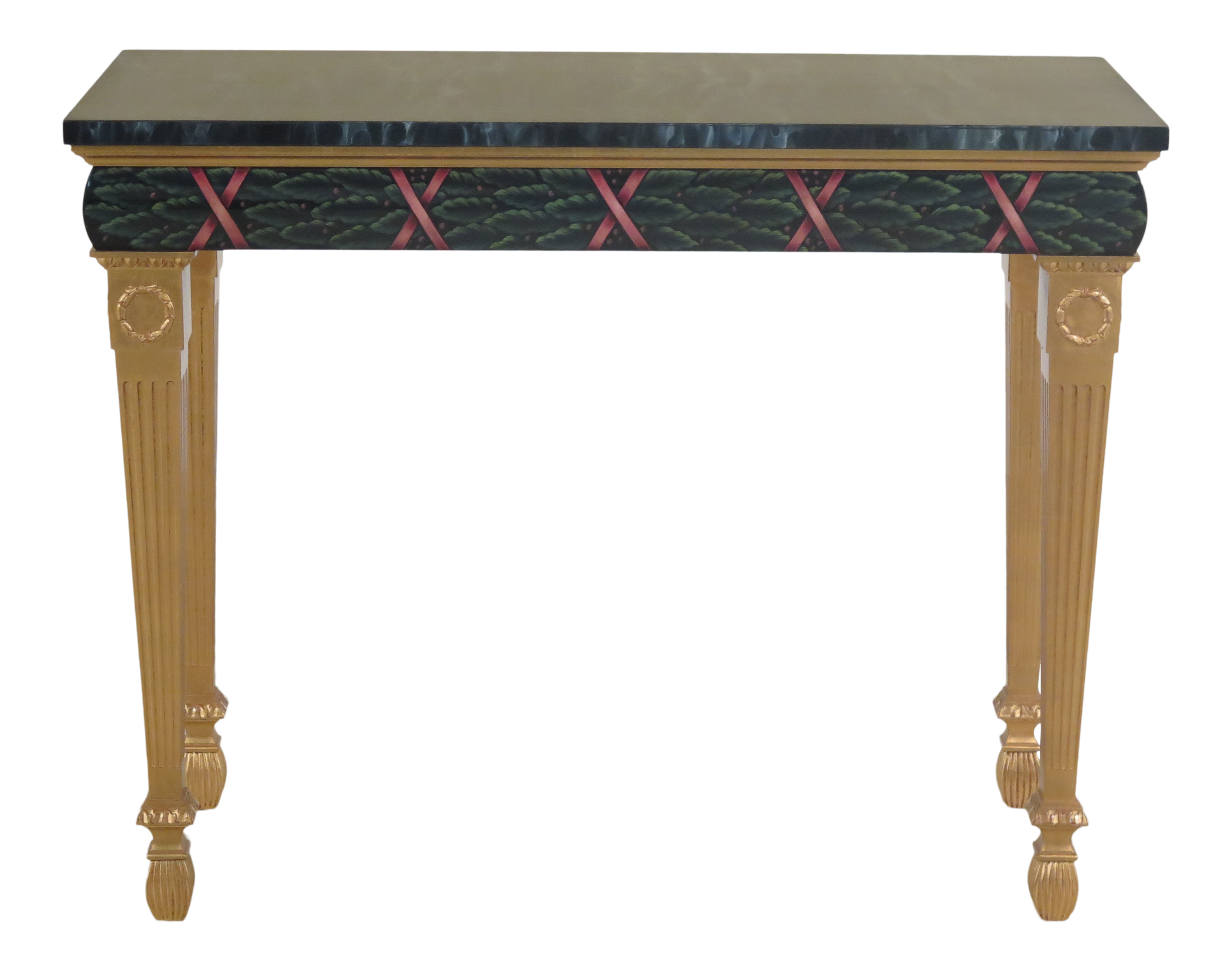 Exceptionnel Traditional Karges Paint Decorated Faux Marble Top Console Table For Sale