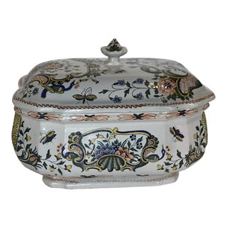 Antique French Faience Tureen For Sale