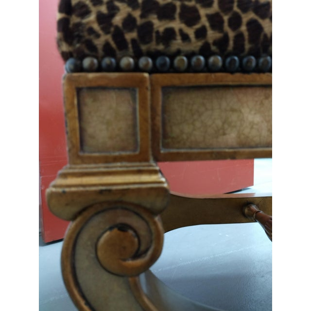 Late 20th Century Roman Empire Renaissance Curule Fashioned Ottoman or Seating For Sale - Image 5 of 13
