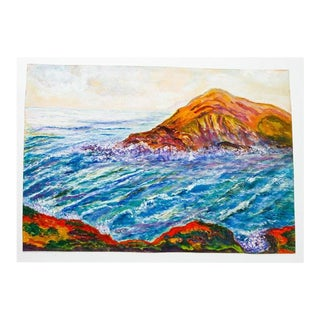 Original P. Dougherty Seascape Watercolor on Paper For Sale