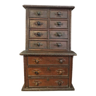 Antique American Tramp Art Chest of Drawers For Sale