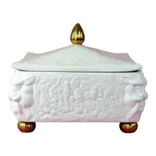 Vintage Rectangular Ceramic Box With Gold Ball Feet For Sale