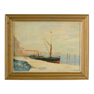 Early 20th Century Harbor Scene Oil Painting by William Fraser, Framed For Sale