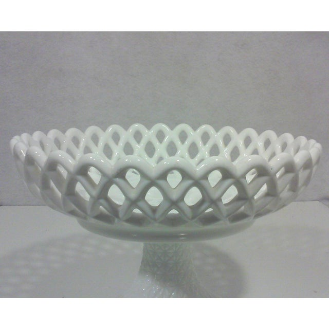 Milk Glass Basket Weave Compote For Sale - Image 4 of 5