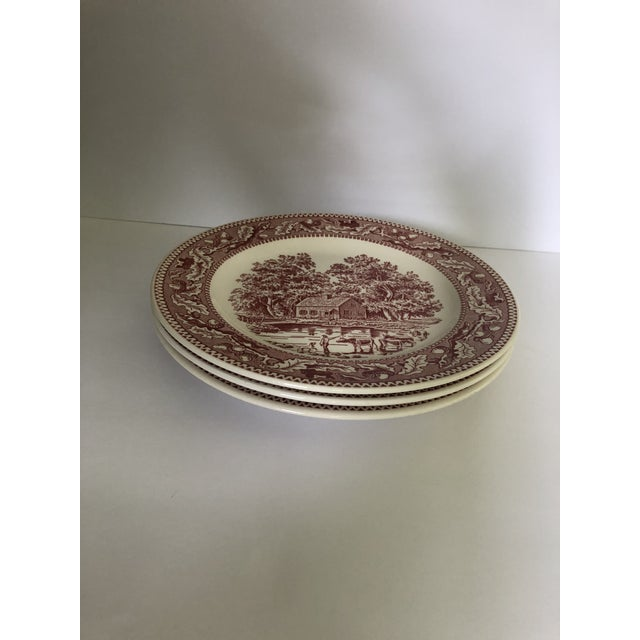 English 1960's Royal Ironstone Red Transfer Ware Dinner Plates S/3 For Sale - Image 3 of 5