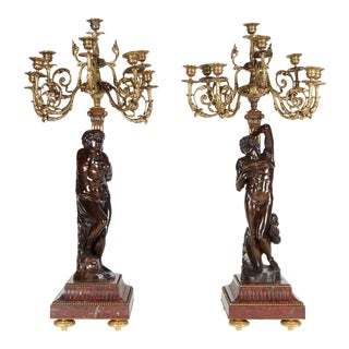Ferdinand Barbedienne French Gilt Patinated Bronze Candelabras - a Pair For Sale