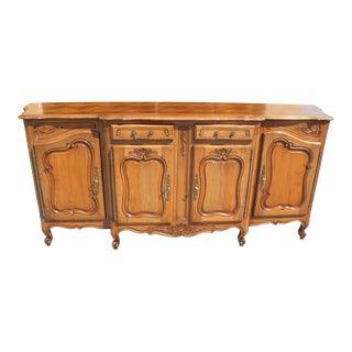 1920s French Louis XV Solid Walnut Sideboard For Sale