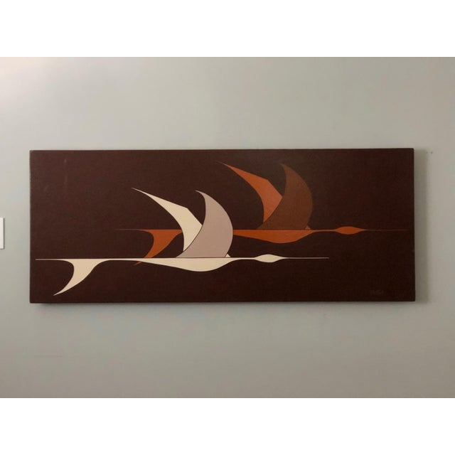 Large Midcentury Painting of Flying Geese For Sale - Image 11 of 11