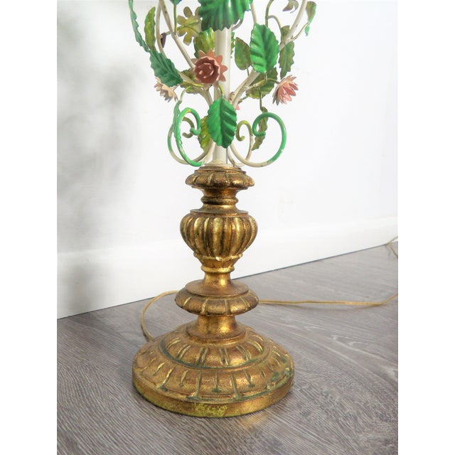 Metal Late 20th Century Vintage Italian Tole Metal Lamps- a Pair For Sale - Image 7 of 9