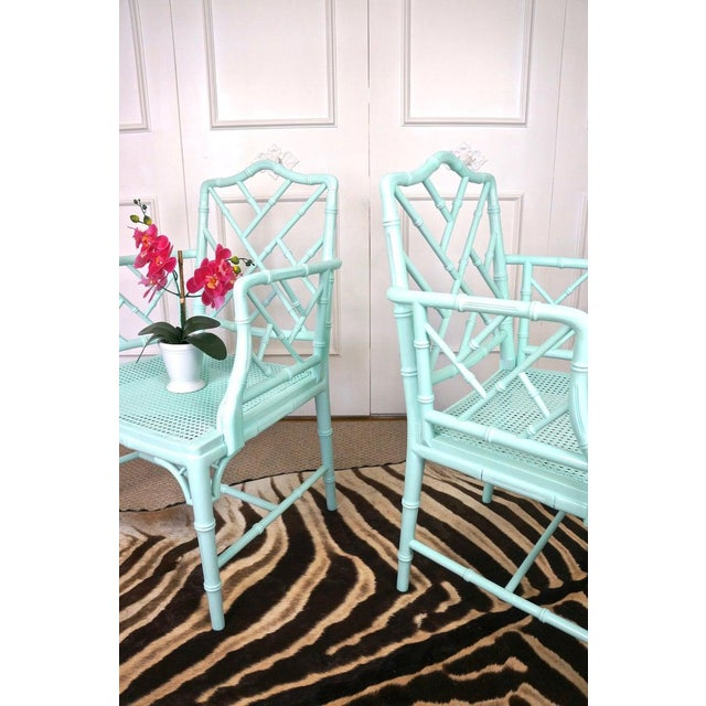 Pale Turquoise Faux Bamboo Chinese Chippendale Chairs- A Pair For Sale In Las Vegas - Image 6 of 10
