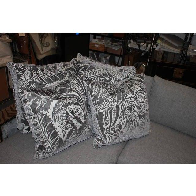 Charcoal Silk/Velvet Pillows - Set of 4 - Image 5 of 6