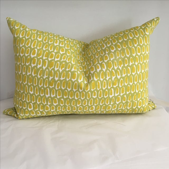 Green and Yellow Cotton Canvas Pillow - Image 3 of 6