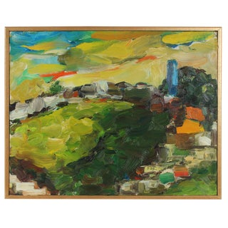Lush Landscape with Houses, Oil Painting, 2008