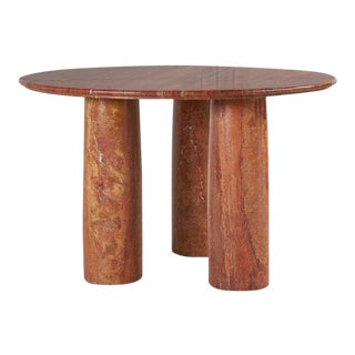 Red Persian Travertine II Colonnato Dining Table by Mario Bellini for Cassina, 1979 For Sale