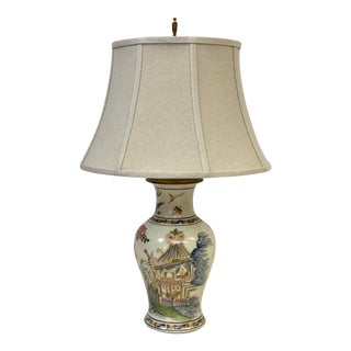 Vintage Wildwood Chinoiserie Handpainted Porcelain Table Lamp For Sale