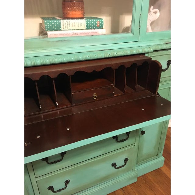 Turquoise Vintage Green China Cabinet For Sale - Image 8 of 8