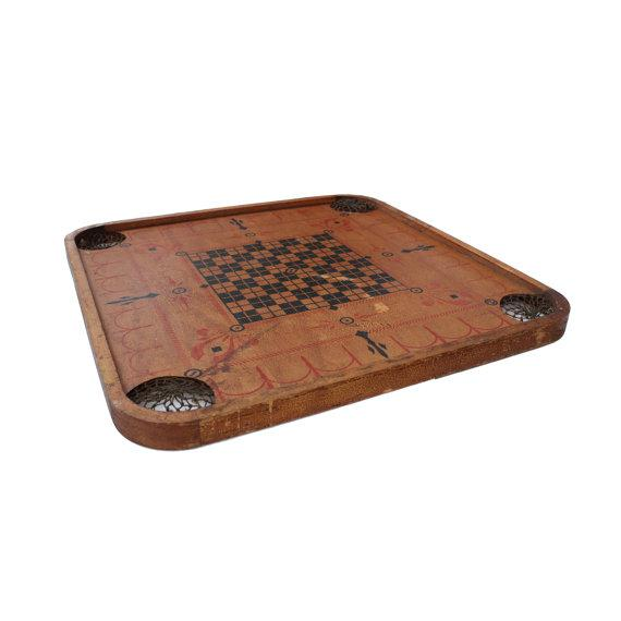 "Antique wooden Carrom game board from the 1920s Material: Wood Great decorative item for vintage game room Measures 29"" H..."